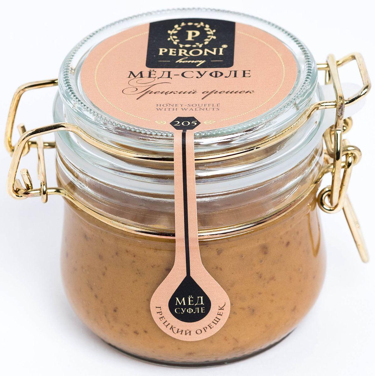 Peroni Грецкий орех мёд-суфле, 250 г0120710Мед-суфле Peroni с грецким орешком — это настоящее удовольствие с большой буквы. Здесь есть всё — тонкая сладость и аромат гречишного меда, обволакивающая горчинка грецких орехов и карамельная нежность суфле. Именно это сочетание является одной из самых любовных смесей — повышает потенцию, очень полезно как для женщин, так и для мужчин. Рекомендуется употреблять в день не более 50 грамм.Внимание, уважаемые клиенты! Будьте аккуратны, так как в продукте может встречаться скорлупа от грецких орехов.