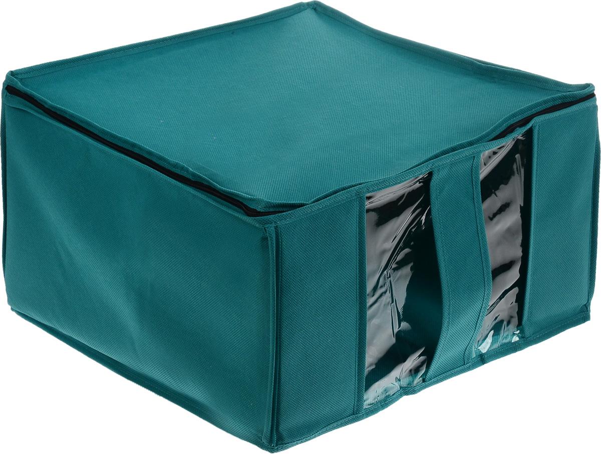 Кофр для хранения Miolla, цвет: морской волны, 40 x 40 x 25 смV30 AC DCКофр Miolla выполнен из высококачественного спанбонда (нетканого материала). Прозрачное полиэтиленовое окошко позволяет видеть содержимое внутри. Подходит для длительного хранения вещей и закрывается откидной крышкой на застежке-молнии. Дно и стенки кофра оснащены специальными вставками из картона, которые держат его форму. Так же кофр оснащен удобной ручкой, благодаря которой изделие можно использовать в качестве выдвижного ящика в гардеробе или шкафу. Такой кофр обеспечит вашей одежде надежную защиту от влажности, повреждений и грязи при транспортировке, от запыления при хранении и проникновения моли, а также позволит воздуху свободно поступать внутрь вещей, обеспечивая их кондиционирование.