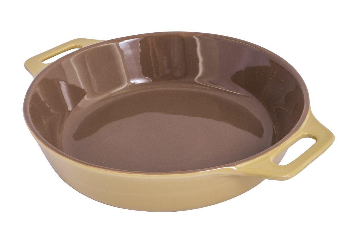 Форма для запекания Pomi d'Oro Al Forno, круглая, 33 см422230Форма для запекания Pomi dOro, 33 см, круглая, модель Q3311, коллекция Al Forno.Круглая форма для выпечки из жаропрочной керамики. Снабжена двумя ручками для удобства использования и подачи. Подходит для всех типов духовых шкафов и микроволновых печей. Благодаря эстетичному цветовому решению крем/шоколад может использоваться не только для выпечки, но и для сервировки стола.Размер: 33,7х27х6,5 см.