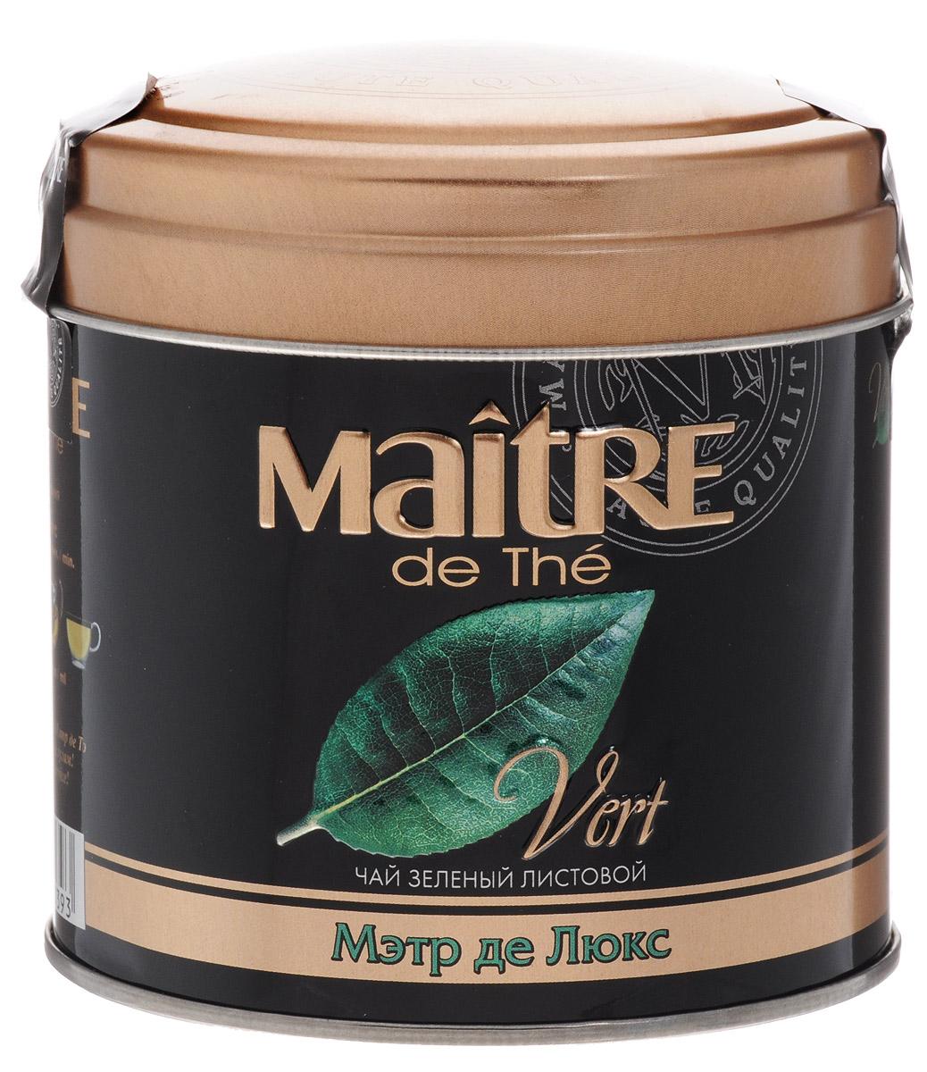 Maitre de The Де Люкс зеленый листовой чай, 65 г (жестяная банка)101246Maitre de The Де Люкс Зеленый листовой чай - это необыкновенный чай, сочетающий изысканный сладкий аромат белого чая со вкусом и полезными свойствами зеленого чая.Белые чайные листочки придают настою яркий прозрачный цвет.