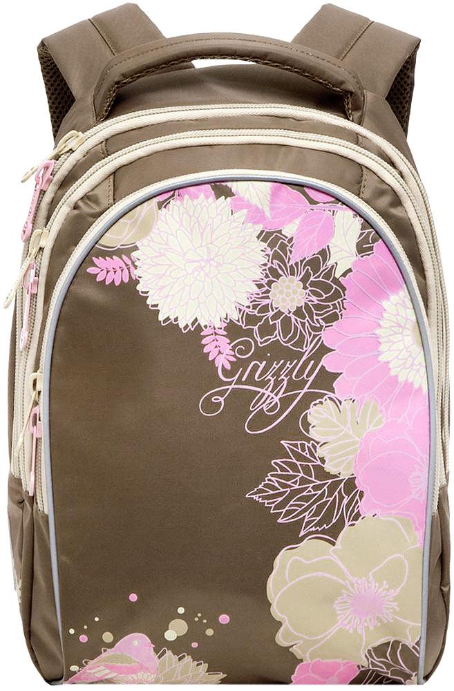 Grizzly Рюкзак детский цвет охра72523WDДетский рюкзак Grizzly - это красивый и удобный рюкзак, который подойдет всем, кто хочет разнообразить свои школьные будни. Рюкзак выполнен из плотного материала и оформлен оригинальным рисунком в виде цветов.Рюкзак имеет три основных отделения, закрывающиеся на застежки-молнии. Одно из отделений содержит накладной карман на молнии, второе отделение не имеет карманов, третье отделение имеет четыре кармана для размещения канцелярских принадлежностей.Рюкзак оснащен удобной ручкой для переноски и светоотражающими элементами.Широкие регулируемые лямки и сетчатые мягкие вставки на спинке рюкзака предохраняют мышцы спины ребенка от перенапряжения при длительном ношении.Многофункциональный детский рюкзак станет незаменимым спутником вашего ребенка.