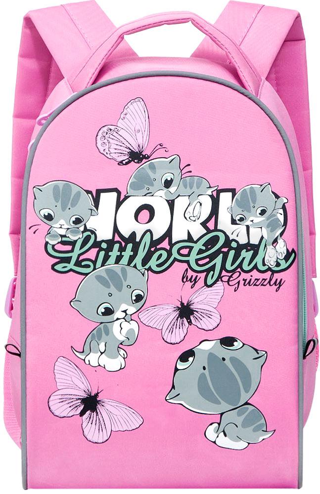 Grizzly Рюкзак дошкольный Little Girls цвет розовый72523WDДошкольный рюкзак Grizzly Little Girls выполнен из прочной микрофибры и украшен изображением очаровательных котят и бабочек. Рюкзак имеет одно отделение на молнии, регулируемые лямки и специальную ручку для размещения на вешалке. Также на рюкзаке находятся светоотражающие вставки.Порадуйте своего ребенка таким замечательным подарком!