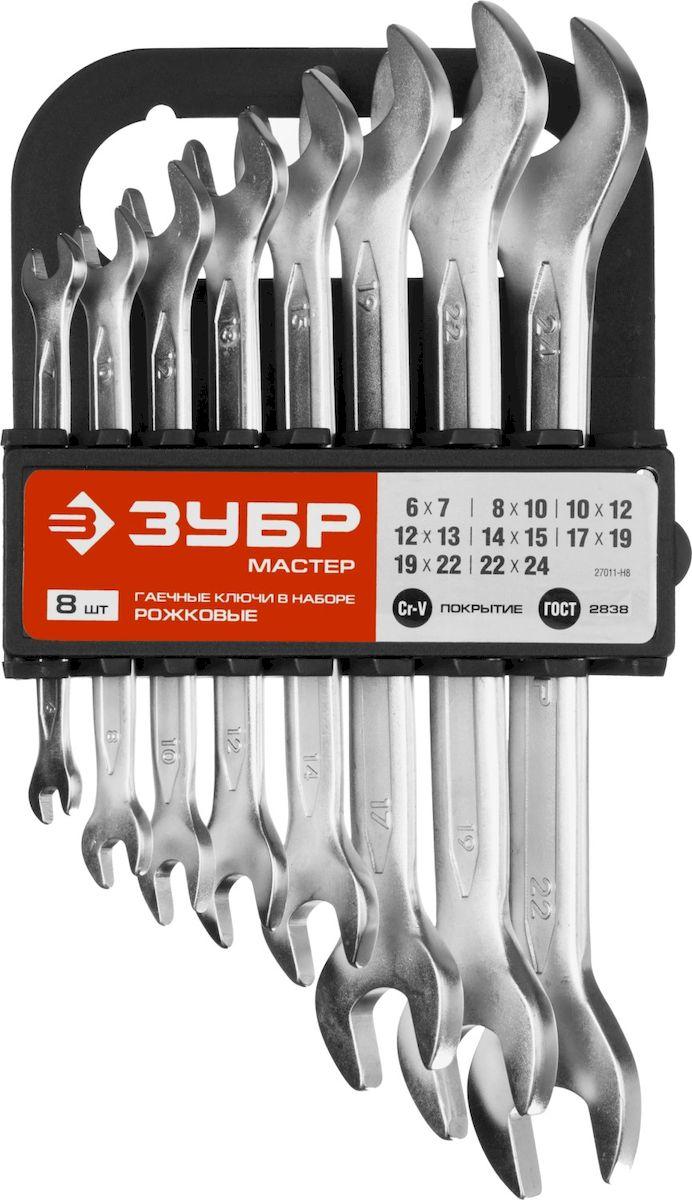 Набор ключей рожковых Зубр Мастер, 8 предметов98298123_черныйНабор рожковых гаечных ключей Зубр Мастер предназначен для профессионального применения в решении сантехнических, строительных и авторемонтных задач, а также для бытового использования. Ключи изготовлены из высококачественной хромованадиевой стали. В набор входят: Пластиковый держатель; Ключи: 6 х 7, 8 х 10, 10 х 12, 12 х 13, 14 х 15, 17 х 19, 19 х 22, 22 х 24 мм.