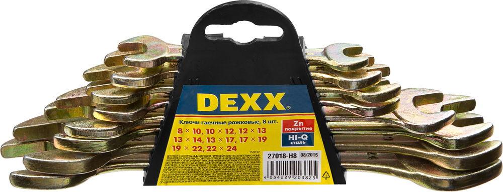 Набор DEXX: Ключи рожковые гаечные, желтый цинк, 8-24мм, 8шт98298130Набор рожковых ключей Dexx станет отличным помощником монтажнику или владельцу авто. Этот набор обеспечит надежную фиксацию на гранях крепежа. Ключи изготовлены из стали. В набор входят:Пластиковый держатель;Ключи: 8 х 10, 10 х 12, 12 х 13, 13 х 14, 13 х 17, 17 х 19, 19 х 22, 22 х 24 мм.