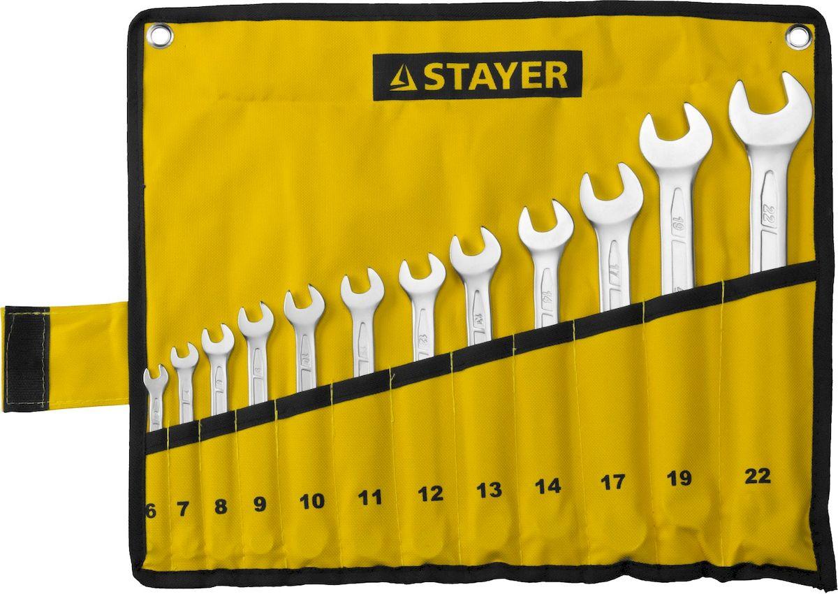 Набор комбинированных гаечных ключей Stayer Profi, 6-22 мм, 12 шт27081-H12Кованые ключи Stayer Profi, выполненные из качественной хромованадиевой легированной стали, изготовлены в соответствии с международными и российскими стандартами. Рабочие характеристики соответствуют российскому ГОСТ 2838 и немецкому стандарту DIN3113. Многоступенчатая закалка придает ключам оптимальный баланс прочности и твердости. Хромированное покрытие защищает инструменты от коррозии. Открытый зев ключа повернут на 15° относительно оси инструмента для более удобной работы в труднодоступных местах. Двенадцатигранный кольцевой зев комбинированных ключей надежно захватывает крепеж, даже если его углы немного повреждены.В набор входят ключи: 6 мм, 7 мм, 8 мм, 9 мм, 10 мм, 11 мм, 12 мм, 13 мм, 14 мм, 17 мм, 19 мм, 22 мм.