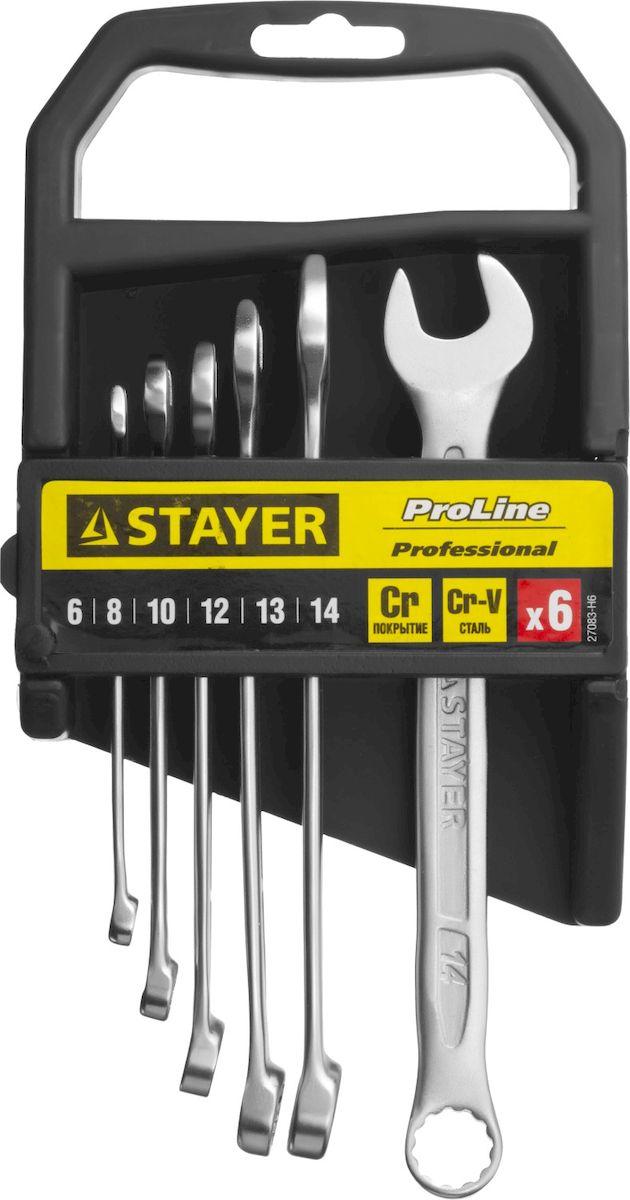 Набор ключей комбинированных Stayer Professional, 6 предметов98298130Набор комбинированных гаечных ключей Stayer Professional предназначен для профессионального применения в решении сантехнических, строительных и авторемонтных задач, а также для бытового использования. Ключи изготовлены из высококачественной хромованадиевой стали.Размеры ключей: 6, 8, 10, 12, 13, 14, мм.