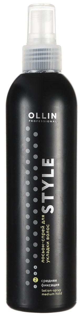 Ollin Лосьон-спрей для укладки волос средней фиксации Style Lotion-Spray Medium 250 млFS-54100Ollin Style Lotion-Spray Medium - Лосьон-спрей для укладки волос средней фиксации. Благодаря особым свойствам состава лосьон-спрей Ollin lotion-spray medium позволяет прекрасно оформить стрижку. Идеален для всех типов волос. Спрей Ollin не оставляет следов, легко счёсывается.
