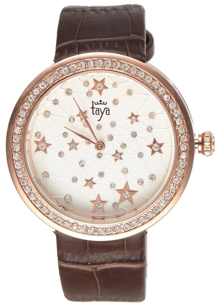 Часы наручные женские Taya, цвет: золотистый, коричневый. T-W-0041BM8434-58AEСтильные женские часы Taya выполнены из минерального стекла, натуральной кожи и нержавеющей стали. Циферблат и корпус часов инкрустированы стразами.Корпус часов оснащен кварцевым механизмом со сменным элементом питания, а также ремешком из натуральной кожи, который застегивается на пряжку. Ремешок декорирован тиснением под кожу рептилии. Часы поставляются в фирменной упаковке.Часы Taya подчеркнут изящность женской руки и отменное чувство стиля у их обладательницы.