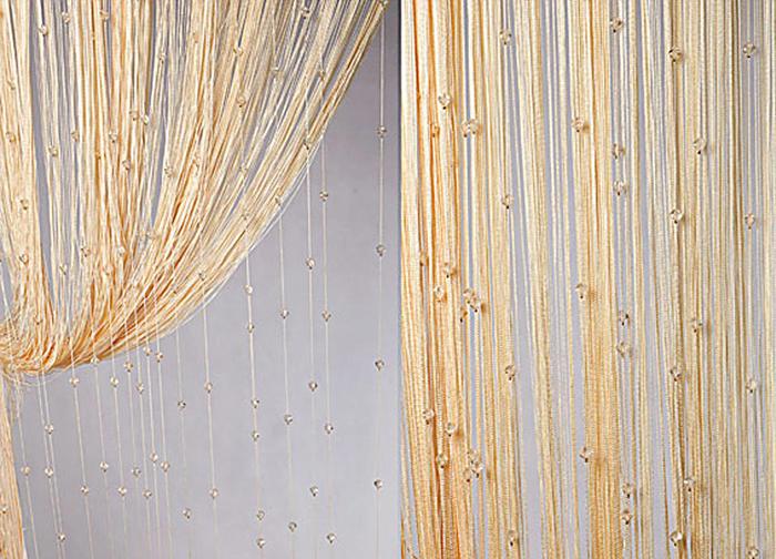 Штора нитяная Magnolia Кисея, цвет: золото, высота 300 см. XLF SJ 13SVC-300Декоративная нитяная штора для дизайнерских решений в вашем доме. Подходит как для зонирования пространства, а так же декорации окна, как самостоятельное решение или дополнение к шторам.