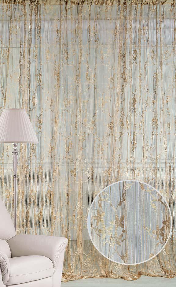 Штора нитяная Magnolia Кисея, на ленте, цвет: золотой, высота 250 см. CQ M 90008(14)K100Штора нитяная Magnolia Кисея выполнена из полиэстера. Изделие прекрасно подойдет для дизайнерских решений в вашем доме. Подходит как для зонирования пространства, так и декорации окна, как самостоятельное решение или дополнение к шторам.