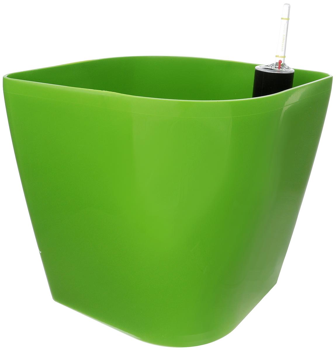 Горшок цветочный Tescoma Sense, с самополивом, цвет: зеленый, 20 х 20 х 20 смHS.040007Цветочный горшок Tescoma Sense изготовлен из прочного пластика. Снабжен системой самополива, которая позволяет растению получать влагу из нижней части горшка непрерывно. Необходимо наполнять резервуар раз в 4-8 недель. Горшок подходит для выращивания растений и кактусов, имеет индикатор уровня воды. Горшок и разделительную сетку можно мыть в посудомоечной машине; не мыть индикатор уровня воды в посудомоечной машине. Инструкция по применению прилагается.