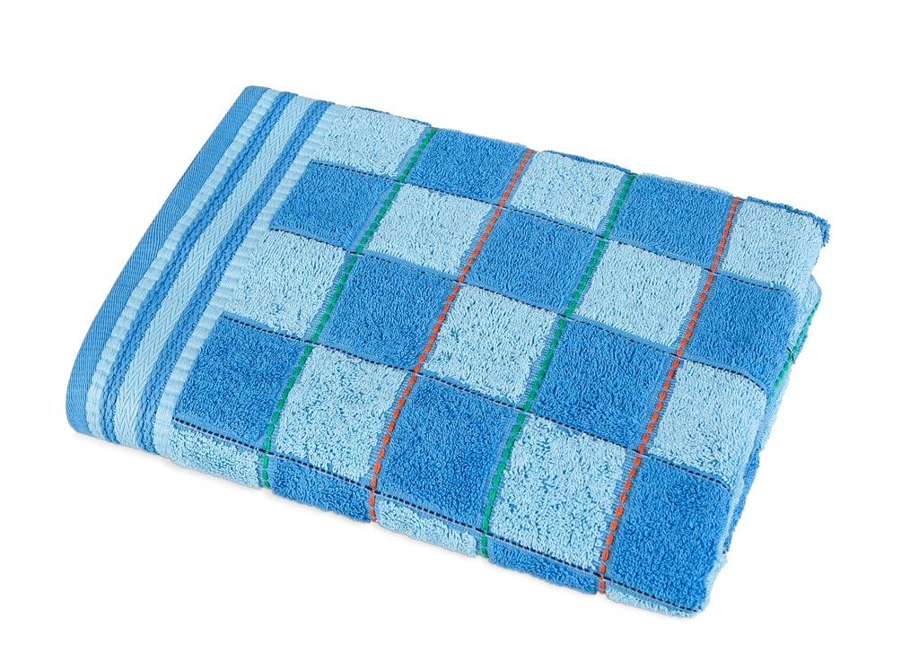 Полотенце Soavita Premium Шахматы, 68х135 см, цвет: синий531-105Перед использованием постирать при температуре не выше 40 градусов