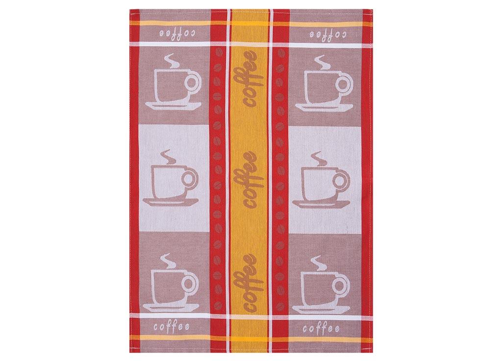 Полотенце кухонное Soavita Coffee, цвет: красный, желтый, коричневый, 50 х 70 смVT-1520(SR)Кухонное полотенце Soavita Apple выполнено из высококачественного 100% хлопка, а также оформлено изображением яблок и цветочным узором. Изделие предназначено для использования на кухне и в столовой.Такое полотенце станет отличным вариантом для практичной и современной хозяйки.Перед использованием постирать при температуре не выше 40 градусов.