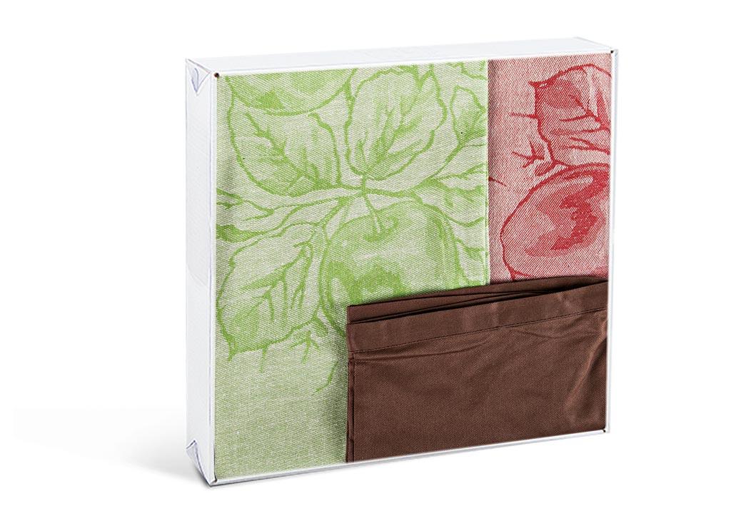 Комплект кухонный Soavita Apple, 50х70 см, 2 шт, с передником, цвет: зеленый, коричневый115510Перед использованием постирать при температуре не выше 40 градусов