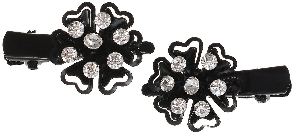 Заколка Mitya Veselkov, цвет: черный, серебряный, 2 шт. ZAKN6-BLA810692Оригинальная заколка-краб Mitya Veselkov изготовлена из качественного металла и пластика. Украшение заколки составлено в виде цветка, украшенного стразами. В комплекте две заколки-краба. Оригинальность и удобство этой заколки для волос делают ее практичным и стильным аксессуаром.