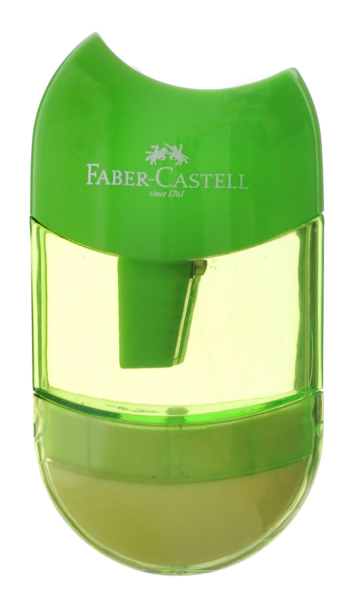 Faber-Castell Точилка-мини с контейнером и ластиком цвет салатовыйFS-36052Точилка Faber-Castell - качественная простая точилка с контейнером для стружек и ластиком.Точилка предназначена для классических, трехгранных, простых и цветных карандашей.