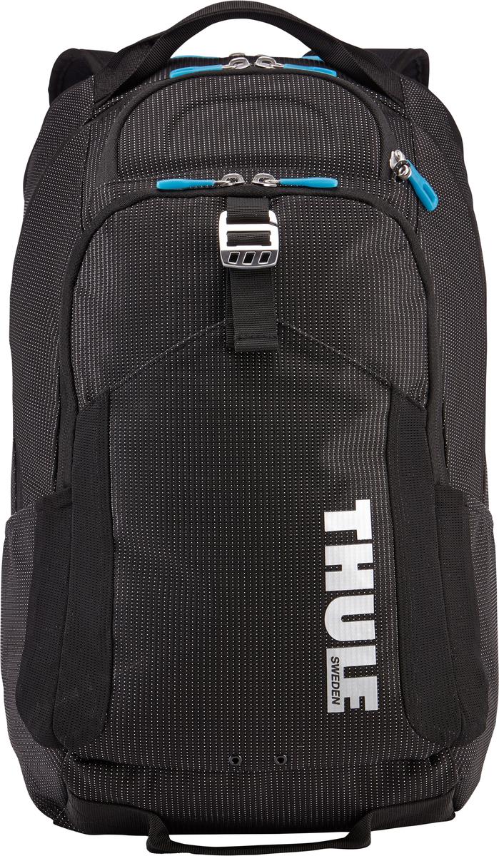 Рюкзак Thule Crossover Backpack, цвет: черный, 32 л3201991В этот прочный рюкзак можно сложить вещи как для ежедневных поездок, так и для отдыха на выходных: в нем есть специальное отделение с дополнительной защитой для электронных устройств, вместительные отделения и отделения-органайзеры. Закрывающееся на молнию отделение с мягкой подкладкой для MacBook Pro 15 или ноутбука, iPad и накладной карман для вещей В ударопрочном отделении SafeZone для солнечных очков и хрупких вещей есть специальный карман для телефона. Отделение SafeZone можно закрыть на замок, а если нужно освободить дополнительное пространство, можно полностью убрать его. Карман Shove-it Pocket с регулируемыми ремешками обеспечивает дополнительное пространство для куртки или газеты. Перфорированные наплечные ремни из EVA с сетчатым покрытием и мягкая задняя подушка со специальными порами, пропускающими воздух, создают ощущение комфорта и позволяют вашей спине «дышать». Водостойкий материал и надежные застежки-молнии делают эту сумку легкой, но прочной. В отделе-органайзере можно хранить зарядные устройства и другие аксессуары, которые всегда должны быть под рукой, но не должны валяться где попало. Несколько удобных ручек для переноски. Боковые сетчатые карманы с двух сторон предназначены для хранения бутылок и аксессуаров.