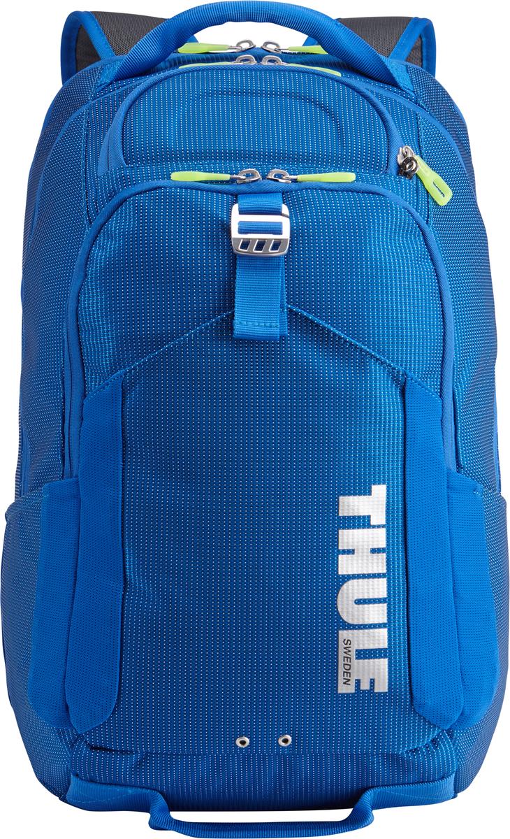 Рюкзак Thule Crossover, цвет: темно-синий, 32л. TCBP417Z90 blackРюкзак Thule Crossover, 32 л - В этот прочный рюкзак можно сложить вещи как для ежедневных поездок, так и для отдыха на выходных: в нем есть специальное отделение с дополнительной защитой для электронных устройств, вместительные отделения и отделения-органайзеры. Закрывающееся на молнию отделение с мягкой подкладкой для MacBook Pro 15 или ноутбука, iPad и накладной карман для вещей В ударопрочном отделении SafeZone для солнечных очков и хрупких вещей есть специальный карман для телефона Отделение SafeZone можно закрыть на замок, а если нужно освободить дополнительное пространство, можно полностью убрать его Карман Shove-it Pocket с регулируемыми ремешками обеспечивает дополнительное пространство для куртки или газеты Перфорированные наплечные ремни из EVA с сетчатым покрытием и мягкая задняя подушка со специальными порами, пропускающими воздух, создают ощущение комфорта и позволяют вашей спине «дышать». Водостойкий материал и надежные застежки-молнии делают эту сумку легкой, но прочной В отделе-органайзере можно хранить зарядные устройства и другие аксессуары, которые всегда должны быть под рукой, но не должны валяться где попало. Несколько удобных ручек для переноски Боковые сетчатые карманы с двух сторон предназначены для хранения бутылок и аксессуаров