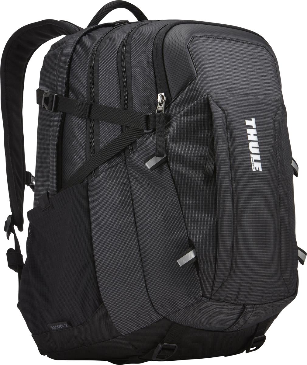 Рюкзак Thule EnRoute Escort 2, цвет: черный, 27 л3202887Рюкзак Thule EnRoute Escort 2 - Рюкзак объемом 27 л обеспечивает оптимальную вместимость для повседневного хранения вещей. Отличается использованием конструкции SafeEdge для защиты ноутбука. Вмещает MacBook Pro с диагональю экрана 15 или ноутбук с диагональю экрана 15,6 и дополнительно планшет. Отделение для ноутбука с конструкцией SafeEdge и дополнительный чехол для планшета с мягкой подкладкой. В ударопрочном отделении SafeZone для солнечных очков и хрупких вещей есть специальный карман для телефона. В отделении для ноутбука также можно хранить питьевую систему (в комплект не входит). Большое основное отделение позволяет хранить ваше снаряжение отдельно от электроники. Карманы на переднем клапане, обеспечивающие быстрый доступ. Потайные крепления со светоотражающими деталями. Панель-органайзер обеспечит надежное хранение и быстрый поиск мелких предметов. Выемки для вентиляции на задней стороне обеспечивают циркуляцию воздуха. Поясной ремень обеспечивает дополнительную фиксацию тяжелых грузов.