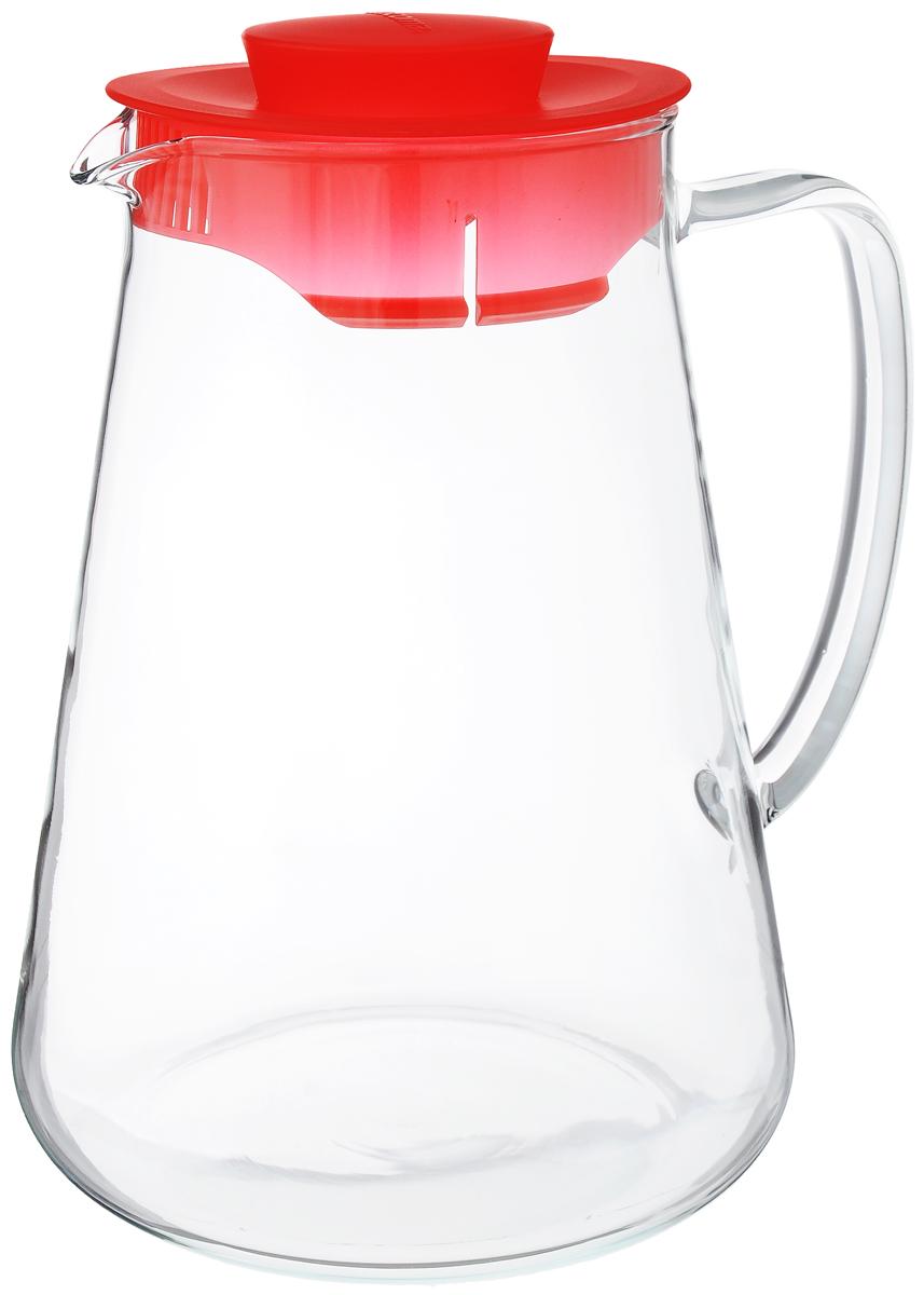 Кувшин Tescoma Teo, цвет: прозрачный, красный, 2,5 л646626_красныйКувшин Tescoma Teo, выполненный из термостойкого бросиликатного стекла, элегантно украсит ваш стол. Кувшин оснащен удобной ручкой и пластиковой крышкой. Он прост в использовании, достаточно просто наклонить его и налить ваш любимый напиток. Форма крышки обеспечивает наливание жидкости без расплескивания. Изделие прекрасно подойдет для холодильника и для подачи на стол воды, сока, компота и других напитков, горячих и холодных. Кувшин Tescoma Teo дополнит интерьер вашей кухни и станет замечательным подарком к любому празднику.Можно мыть в посудомоечной машине и использовать на газовых, стеклокерамических и электрических плитах.Диаметр (по верхнему краю): 10,5 см.Высота кувшина (с учетом крышки): 24 см.