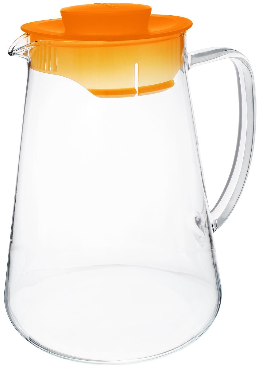 Кувшин Tescoma Teo, цвет: прозрачный, оранжевый, 2,5 лVT-1520(SR)Кувшин Tescoma Teo, выполненный из термостойкого бросиликатного стекла, элегантно украсит ваш стол. Кувшин оснащен удобной ручкой и пластиковой крышкой. Он прост в использовании, достаточно просто наклонить его и налить ваш любимый напиток. Форма крышки обеспечивает наливание жидкости без расплескивания. Изделие прекрасно подойдет для холодильника и для подачи на стол воды, сока, компота и других напитков, горячих и холодных. Кувшин Tescoma Teo дополнит интерьер вашей кухни и станет замечательным подарком к любому празднику.Можно мыть в посудомоечной машине и использовать на газовых, стеклокерамических и электрических плитах.Диаметр (по верхнему краю): 10,5 см.Высота кувшина (с учетом крышки): 24 см.