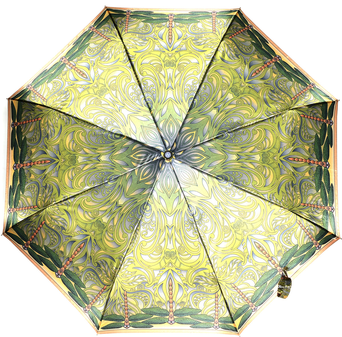 Зонт женский Henry Backer, 3 сложения, цвет: зеленый. U21204 Dragonfly45100032/35449/3537AРоскошный женский зонт «Стрекозы» с сатиновым куполом, автоматБольшой купол надежно защищает от дождя, прочный корпус выполнен из стали и фибергласса, конструкция каркаса ветроустойчивая.