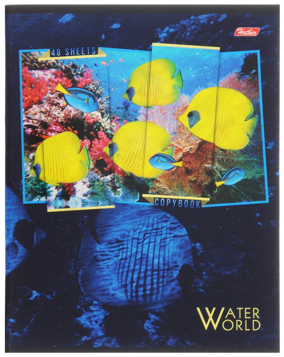 Hatber Тетрадь Водный мир 48 листов в клетку 48Т5вмВ1_1257472523WDТетрадь Hatber Водный мир отлично подойдет для занятий школьнику, студенту, а также для различных записей.Обложка, выполненная из плотного картона, позволит сохранить тетрадь в аккуратном состоянии на протяжении всего времени использования. Обложка украшена изображением морских обитателей.Внутренний блок тетради, соединенный двумя металлическими скрепками, состоит из 48 листов белой бумаги. Стандартная линовка в клетку голубого цвета дополнена полями, совпадающими с лицевой и оборотной стороны листа. В верхнем углу каждой странички находится разделенное точками место для даты, в нижнем - пустые квадратики для номеров страниц.