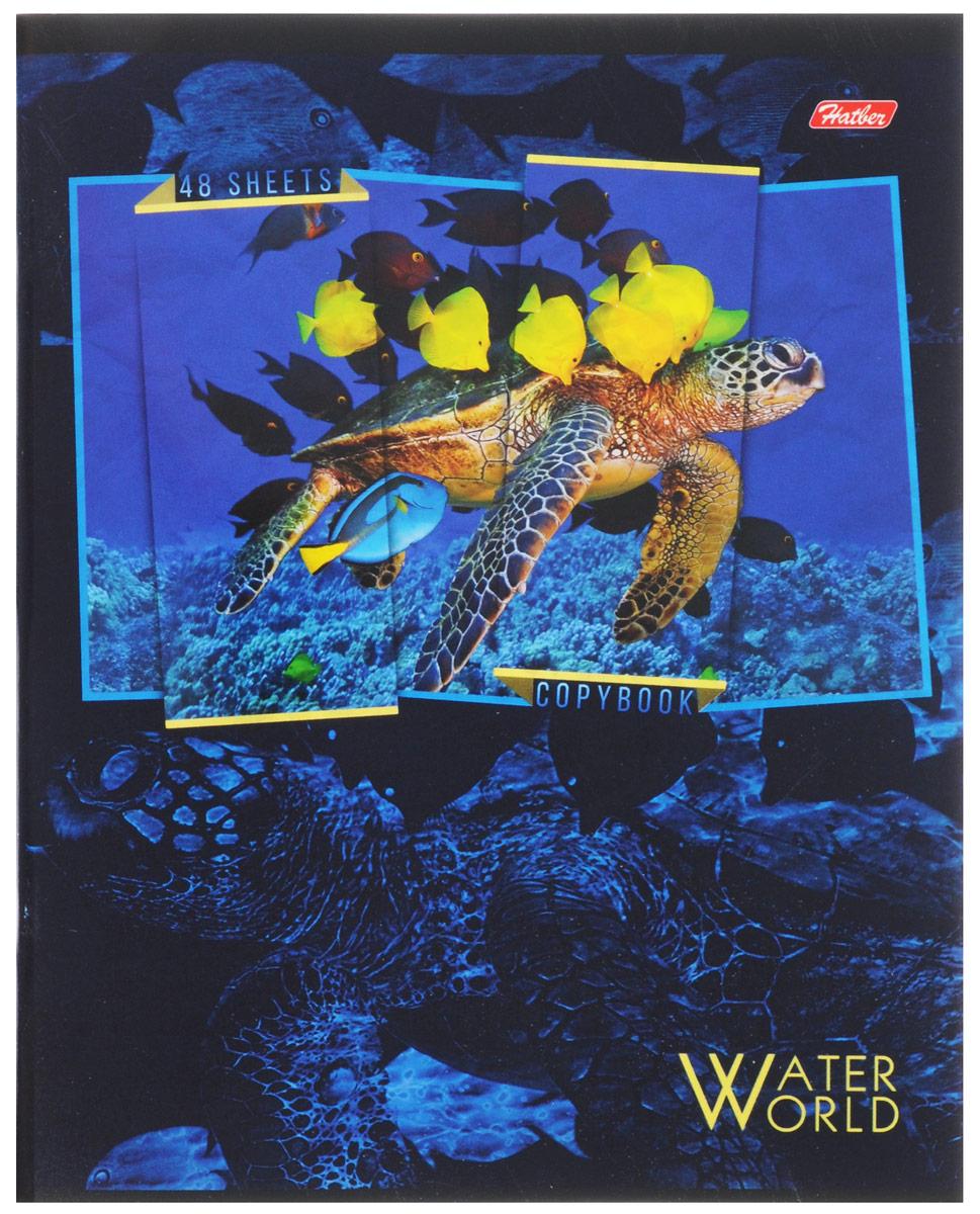 Hatber Тетрадь Водный мир 48 листов в клетку 48Т5вмВ1_1490672523WDТетрадь Hatber Водный мир отлично подойдет для занятий школьнику, студенту, а также для различных записей.Обложка, выполненная из плотного картона, позволит сохранить тетрадь в аккуратном состоянии на протяжении всего времени использования. Обложка украшена изображением морских обитателей.Внутренний блок тетради, соединенный двумя металлическими скрепками, состоит из 48 листов белой бумаги. Стандартная линовка в клетку голубого цвета дополнена полями, совпадающими с лицевой и оборотной стороны листа. В верхнем углу каждой странички находится разделенное точками место для даты, в нижнем - пустые квадратики для номеров страниц.