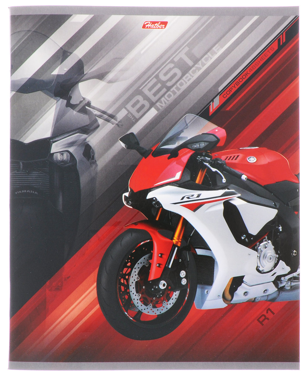 Hatber Тетрадь Спортивные мотоциклы 48 листов в клетку цвет красный48Т5вмВ1_14851Тетрадь Hatber Спортивные мотоциклы отлично подойдет для занятий школьнику, студенту, а также для различных записей.Обложка, выполненная из плотного картона, позволит сохранить тетрадь в аккуратном состоянии на протяжении всего времени использования. Обложка украшена изображением мощного спортивного мотоцикла.Внутренний блок тетради, соединенный двумя металлическими скрепками, состоит из 48 листов белой бумаги. Стандартная линовка в клетку голубого цвета дополнена полями, совпадающими с лицевой и оборотной стороны листа. В верхнем углу каждой странички находится разделенное точками место для даты, в нижнем - пустые квадратики для номеров страниц.