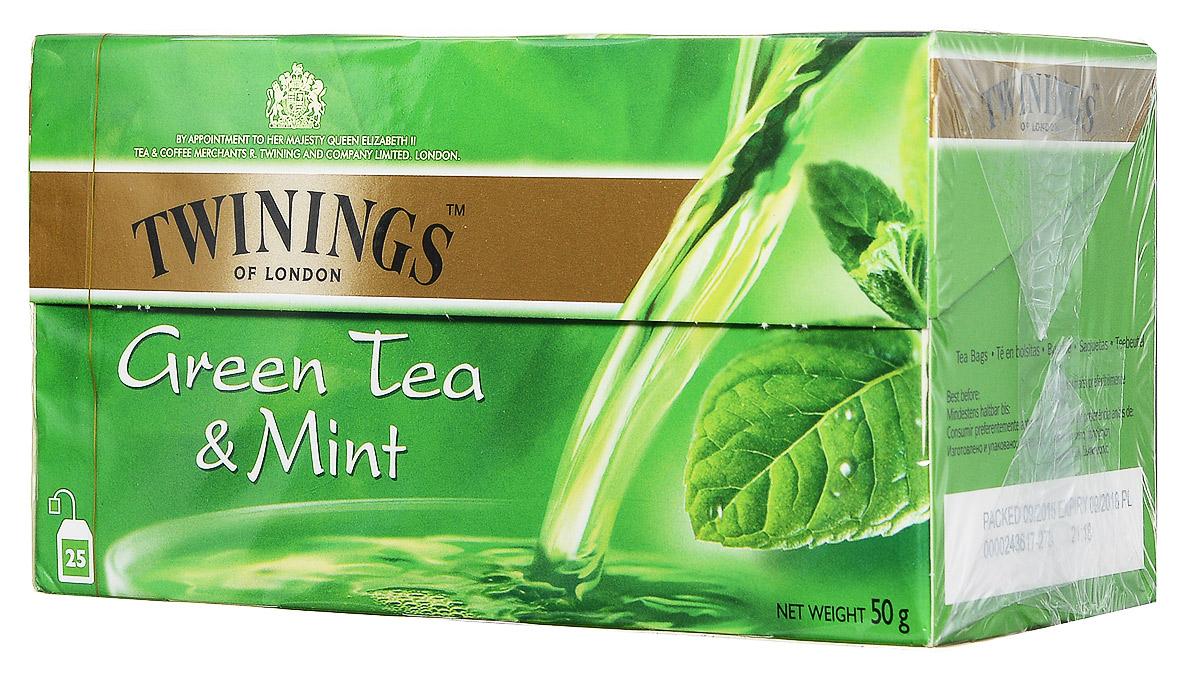 Twinings Green Tea & Mint зеленый чай c мятой в пакетиках, 25 шт0120710Twinings Green Tea & Mint - смесь сортов зеленого чая и мяты.
