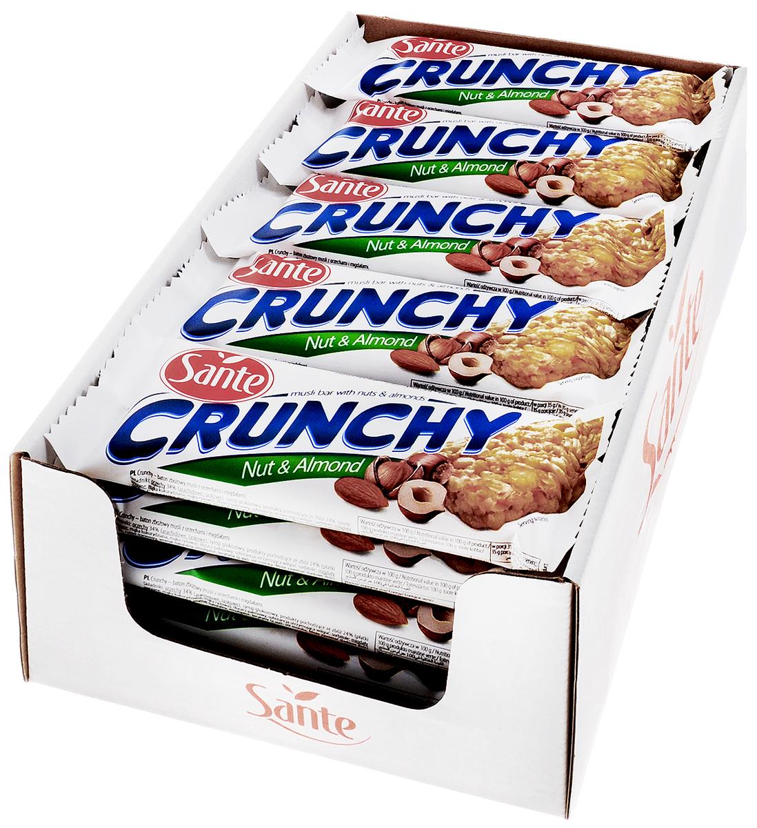 Sante Crunchy батончикмюслисорехами,35г (25 шт)4620000677239БатончикмюслиSante Crunchy имеет высокую питательную ценность и прекрасные вкусовые качества. Они являются прекрасной альтернативой высококалорийным шоколадным батончикам.