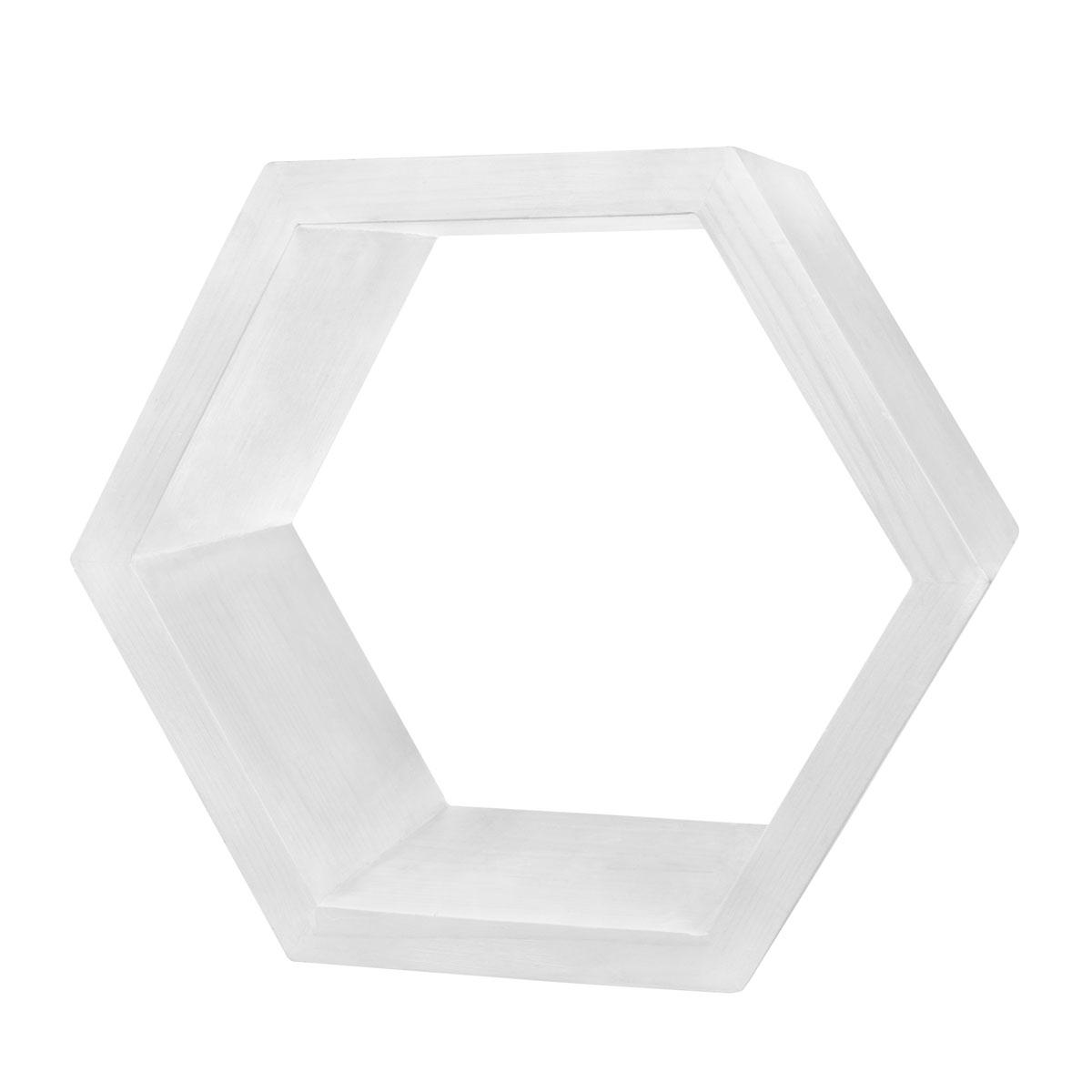 Декоративная полка EcoWoo 40 см, цвет: белыйCM000001326Оригинальные деревянные полки шестигранники. Отличное решение для декорирования комнаты. Несколько полок можно складывать в причудливые сочетания, ограниченные только вашей фантазией. Любой цвет и размер. Станьте креативными дизайнерами своего жилого пространства!