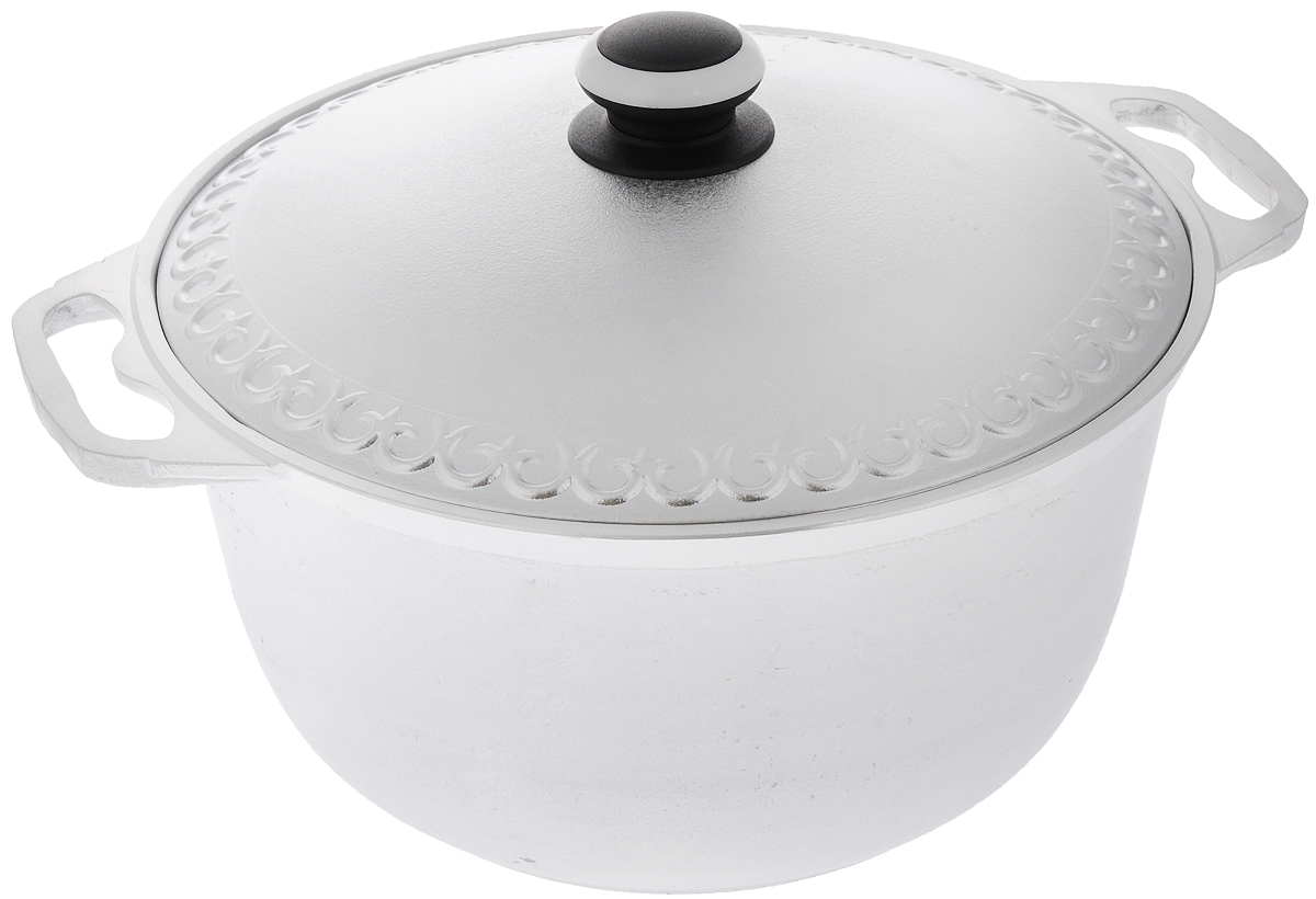 Кастрюля Катюша с крышкой, 6 л94672Кастрюля Катюша, выполненная из литого алюминия, позволит вам приготовить вкуснейшие блюда. Обычно такие кастрюли используют для варки каш либо овощей. Благодаря хорошей теплопроводности алюминия, молоко или вода закипают в них быстрее, чем в эмалированных кастрюлях.Данная кастрюля отличается долговечностью и легкостью. Подходит для всех видов плит, кроме индукционных. Не рекомендуется мыть в посудомоечной машине. Высота стенки: 14,5 см. Ширина кастрюли (с учетом ручек): 35,5 см. Диаметр кастрюли (по верхнему краю): 28,5 см. Диаметр основания: 19 см.