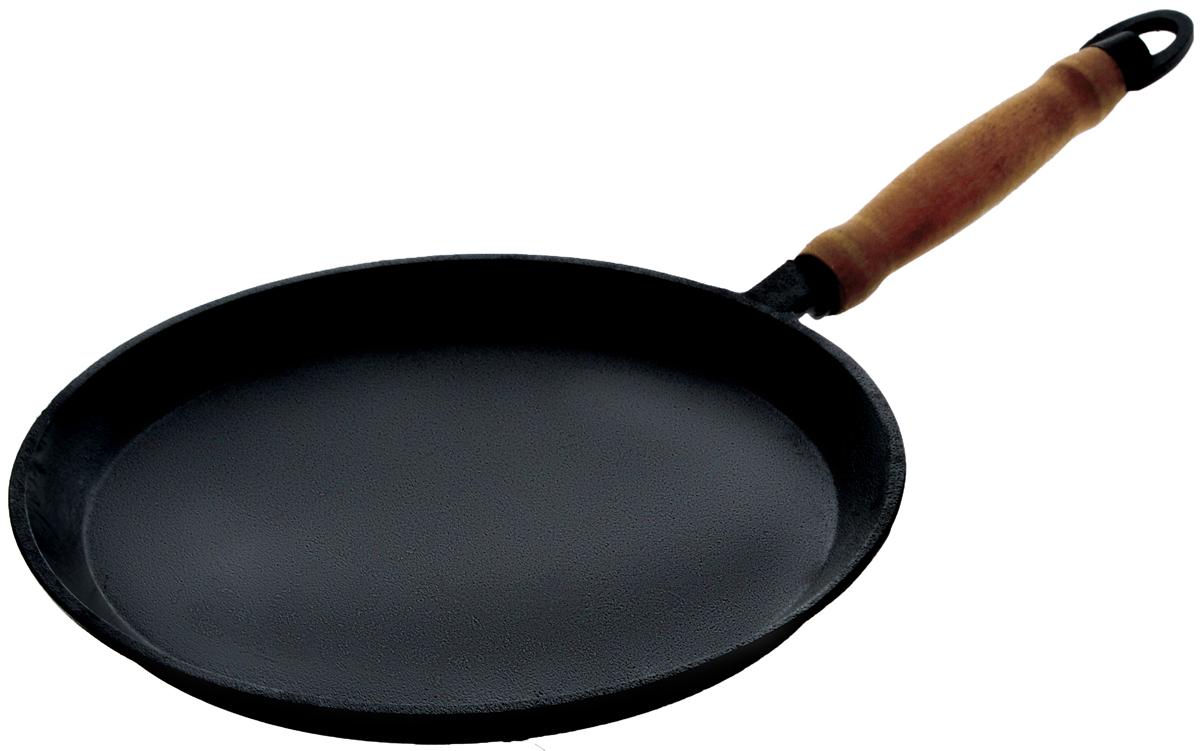 Сковорода блинная Катюша, чугунная. Диаметр 24 см54 009303Блинная сковорода Катюша, изготовленная из натурального экологически безопасного чугуна, оснащена деревянной ручкой. Чугун является одним из лучших материалов для производства посуды. Его можно нагревать до высоких температур. Он очень практичный, не выделяет токсичных веществ, обладает высокой теплоемкостью и способен служить долгие годы.Плоская форма идеальна для приготовления блинов и яичницы.Вы всегда будете готовить самую вкусную и полезную для здоровья пищу. Не рекомендуется мыть в посудомоечной машине.Подходит для всех типов плит, включая индукционные. Длина ручки: 17 см.Высота стенки: 2 см.