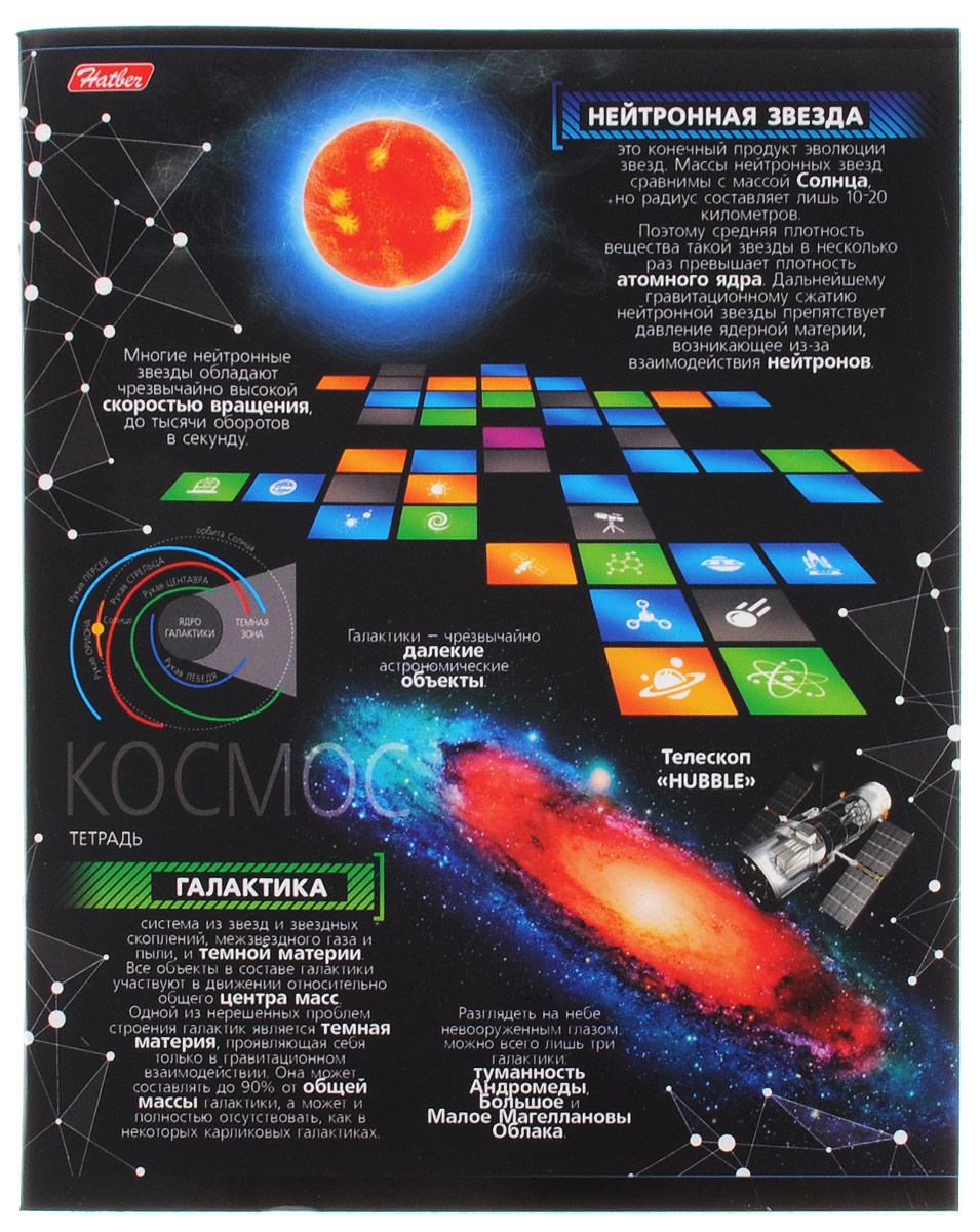 Hatber Тетрадь Космос 48 листов в клетку 48Т5вмВ1_149847-48-1040Тетрадь Hatber Космос отлично подойдет для занятий школьнику, студенту, а также для различных записей.Обложка, выполненная из плотного картона, позволит сохранить тетрадь в аккуратном состоянии на протяжении всего времени использования. Обложка оформлена изображением различных астрономических объектов и дополнена полезной информацией о некоторых из них. Внутренний блок тетради, соединенный двумя металлическими скрепками, состоит из 48 листов белой бумаги. Стандартная линовка в клетку голубого цвета дополнена полями, совпадающими с лицевой и оборотной стороны листа. В верхнем углу каждой странички находится разделенное точками место для даты, в нижнем - пустые квадратики для номеров страниц.