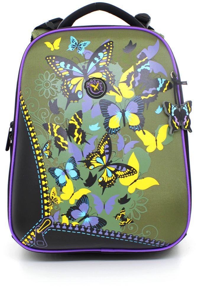 Hatber HD Рюкзак школьный для девочки Ergonomic Бабочки72523WDЭргономичный рюкзак предназначен для детей младшего и среднего школьного возраста. Выполнен из современного EVA материала. Рюкзак имеет два отделения на застежке-молнии и застежку-молнию посередине, открыв которую можно увеличить объем рюкзака. Внутри первого отделения находится большой карман из сетки на резинке, карман-органайзер для письменных принадлежностей, накладной карман с клапаном на липучке для сотового телефона, карман на молнии и накладной карман для мелочей. Во втором вместительном отделении находятся два жестких разделителя, которые разграничивают отделение на три секции. Рюкзак имеет жесткий корпус, дно исполнено из водонепроницаемого ПВХ и оснащено пластиковыми ножками. Эргономичная ортопедическая вентилируемая спинка с мягкими вставками из спонжа и широкие регулируемые лямки обеспечат комфорт при носке. Плотная подкладка устойчива к разрывам. Светоотражающие вставки сделают ребенка видимым на дороге в темное время суток. Милый дизайн с бабочками понравится ребенку.
