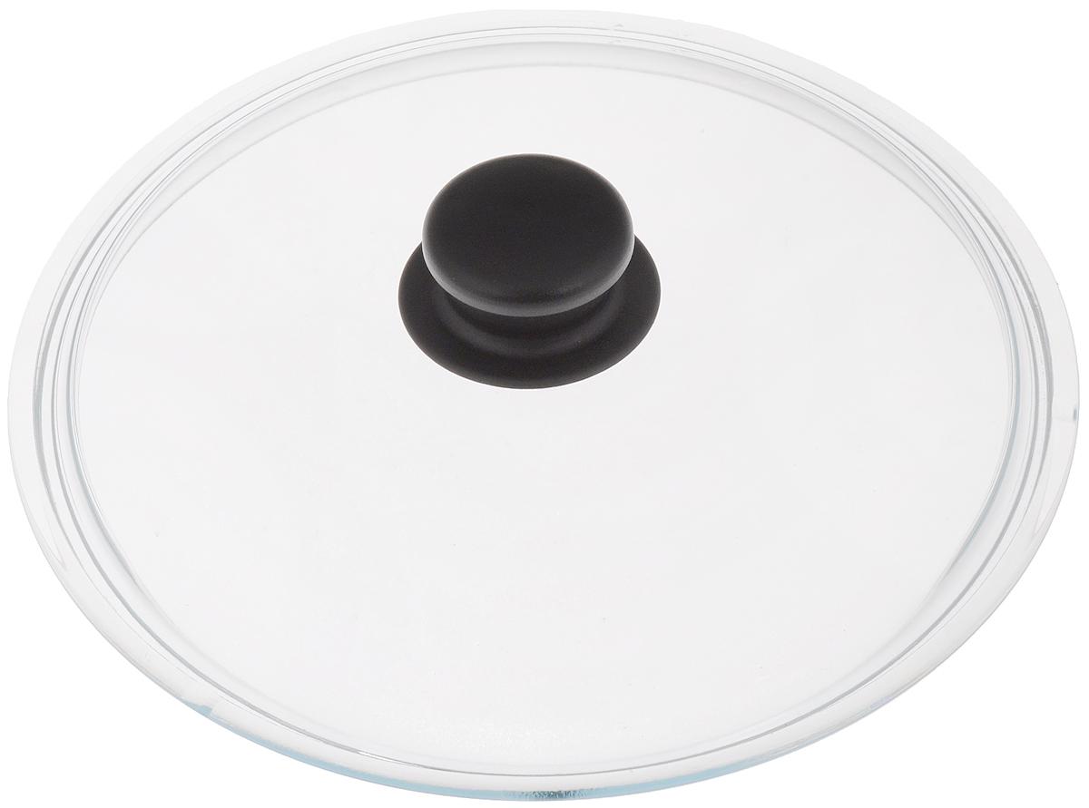 Крышка стеклянная VGP Катюша. Диаметр 24 см54 009312Крышка VGP Катюша изготовлена из жаропрочного стекла. Ручка, выполненная из термостойкого пластика, защищает ваши руки от высоких температур. Крышка удобна в использовании и позволяет контролировать процесс приготовленияпищи. Можно мыть в посудомоечной машине.