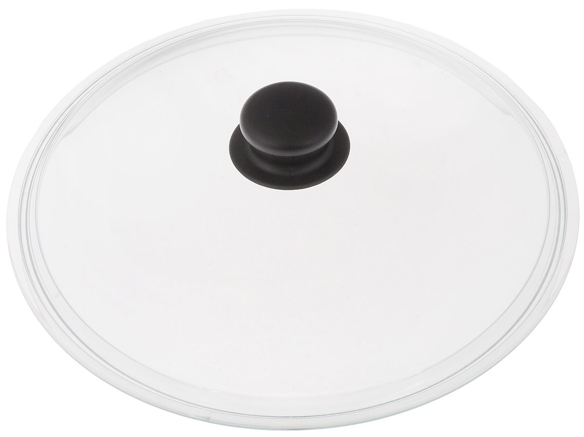 Крышка стеклянная VGP Катюша. Диаметр 28 см54 009312Крышка VGP Катюша изготовлена из жаропрочного стекла. Ручка, выполненная из термостойкого пластика, защищает ваши руки от высоких температур. Крышка удобна в использовании и позволяет контролировать процесс приготовленияпищи. Можно мыть в посудомоечной машине.