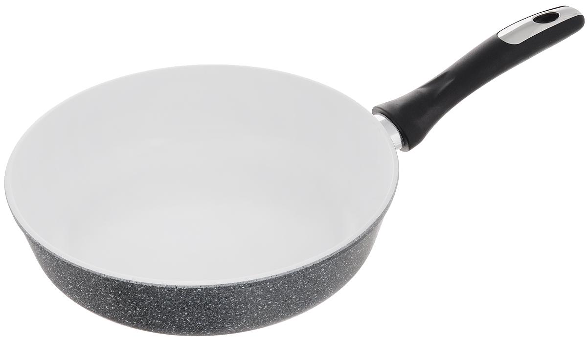 Сковорода Катюша, с керамическим покрытием. Диаметр 26 смFS-91909Сковорода Катюша изготовлена из высококачественного алюминия. Внутреннее керамическое покрытие предотвращает пригорание и обеспечивает быстрое и качественное приготовление пищи. Покрытие выдерживает температуру до 450°С и обладает высокой прочностью. При нагревании не выделяется вредной примеси PFOA, сковорода экологична и абсолютно безопасна для приготовления пищи. Утолщенное дно обеспечивает быстрый нагрев и равномерное распределение тепла по всей поверхности. Ручка, выполненная из пластика, не нагревается в процессе готовки и обеспечивает надежный хват.Подходит для всех типов плит, кроме индукционных. Можно мыть в посудомоечной машине. Высота стенки: 7,3 см. Длина ручки: 19 см.
