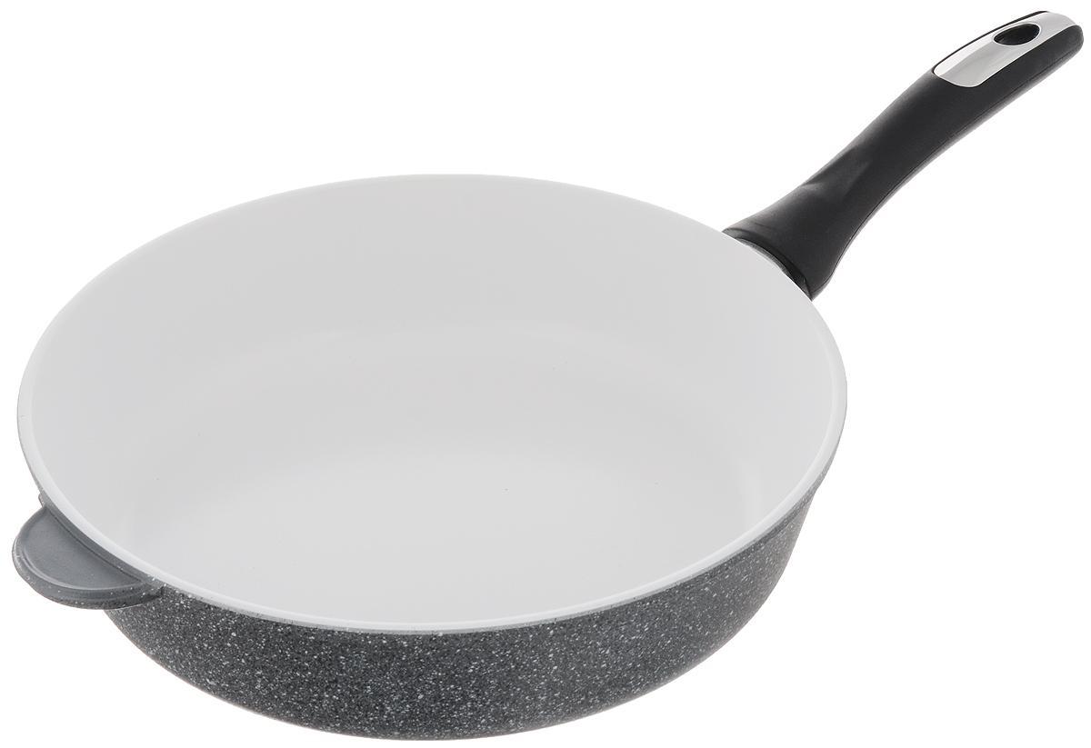 Сковорода Катюша, с керамическим покрытием. Диаметр 28 см54 009312Сковорода Катюша изготовлена из высококачественного алюминия. Внутреннее керамическое покрытие предотвращает пригорание и обеспечивает быстрое и качественное приготовление пищи. Покрытие выдерживает температуру до 450°С и обладает высокой прочностью. При нагревании не выделяется вредной примеси PFOA, сковорода экологична и абсолютно безопасна для приготовления пищи. Утолщенное дно обеспечивает быстрый нагрев и равномерное распределение тепла по всей поверхности. Ручка, выполненная из пластика, не нагревается в процессе готовки и обеспечивает надежный хват.Подходит для всех типов плит, кроме индукционных. Можно мыть в посудомоечной машине. Высота стенки: 7,3 см. Длина ручки: 19 см.