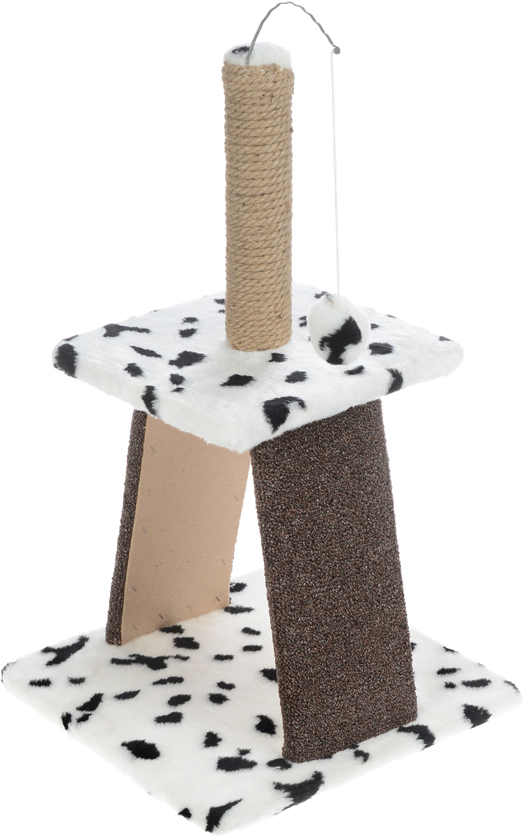 Когтеточка Меридиан Пирамидка, с игрушкой, цвет: белый, черный, бежевый, 40 х 40 х 74 см0120710Когтеточка Меридиан Пирамидка поможет сохранить мебель и ковры в доме от когтей вашего любимца, стремящегося удовлетворить свою естественную потребность точить когти. Изделие изготовлено из дерева, искусственного меха, джута и ковролина. Товар продуман в мельчайших деталях и, несомненно, понравится вашей кошке. На столбике имеется игрушка, которая привлечет внимание питомца.Всем кошкам необходимо стачивать когти. Когтеточка - один из самых необходимых аксессуаров для кошки. Для приучения к когтеточке можно натереть ее сухой валерьянкой или кошачьей мятой. Когтеточка поможет вашему любимцу стачивать когти и при этом не портить вашу мебель.Размер основания: 40 х 40 см.Высота когтеточки: 74 см.Размер верхней полки: 31 х 31 см.