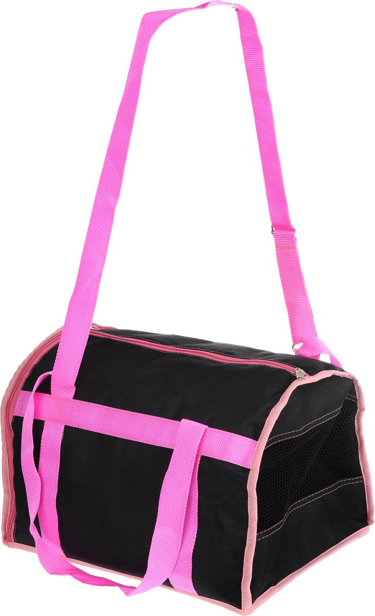 Сумка-переноска для животных Каскад Спорт, цвет: черный, розовый, 37 х 27 х 25 смCA-3505Текстильная сумка-переноска Каскад Спорт для собакмелких пород и кошек имеет твердое основание, которое непозволит животному провисать. С одной стороны переноскиспециальная сетчатая вставка, чтобы ваш любимец могдышать. С другой стороны сумка закрывается на застежку-молнию. В верхней части изделия есть застежка-молния, открывающая доступ в отделение для необходимых вам вещей.Для удобной переноски у сумки имеются две ручки ирегулируемая лямка.При необходимости сумку можно сложить. Сумка-переноска Каскад Спорт понравится вашимдомашним любимцам.