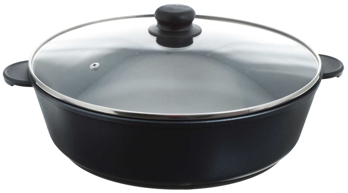 Жаровня Катюша Классика с крышкой, с антипригарным покрытием. Диаметр 32 см115510Жаровня Катюша Классика изготовлена из литого алюминия с антипригарным покрытием, которое предотвращает пригорание и прилипание пищи. Специальным образом отшлифованное дно обеспечивает идеальный контакт с варочной поверхностью. Изделие снабжено стеклянной крышкой TimA. Подходит для газовых, электрических, галогеновых и стеклокерамических плит. Не подходит для индукционных плит. Можно мыть в посудомоечной машине. Ширина жаровни (с учетом ручек): 38,5 см. Высота стенки: 9,2 см.