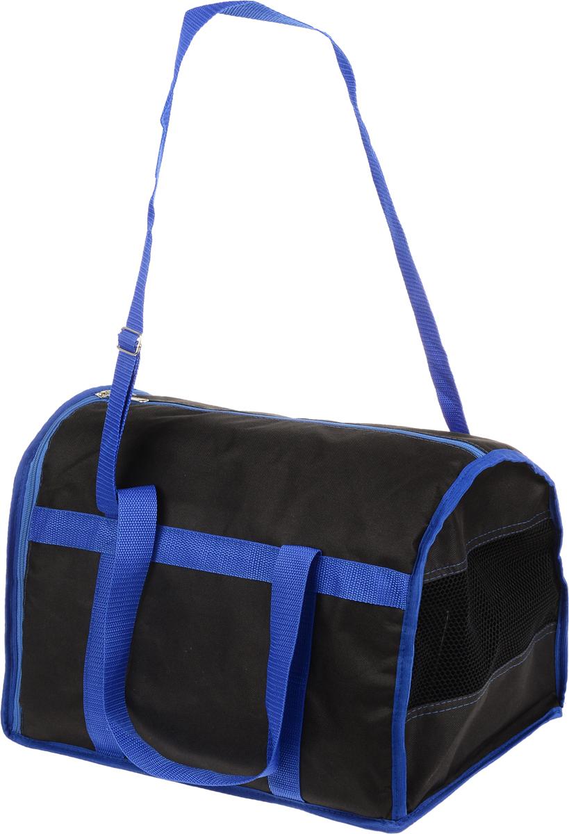 Сумка-переноска для животных Каскад Спорт, цвет: черный, синий, 40 х 28 х 29 см0120710Текстильная сумка-переноска Каскад Спорт для собакмелких пород и кошек имеет твердое основание, которое непозволит животному провисать. С одной стороны переноскиимеется специальная сетчатая вставка, чтобы ваш любимец могдышать. С другой стороны сумка закрывается на застежку-молнию. В верхней части изделия есть застежка-молния, открывающая доступ в отделение для необходимых вам вещей.Для удобной переноски у сумки имеются две ручки ирегулируемая лямка.При необходимости сумку можно сложить. Сумка-переноска Каскад Спорт понравится вашимдомашним любимцам.
