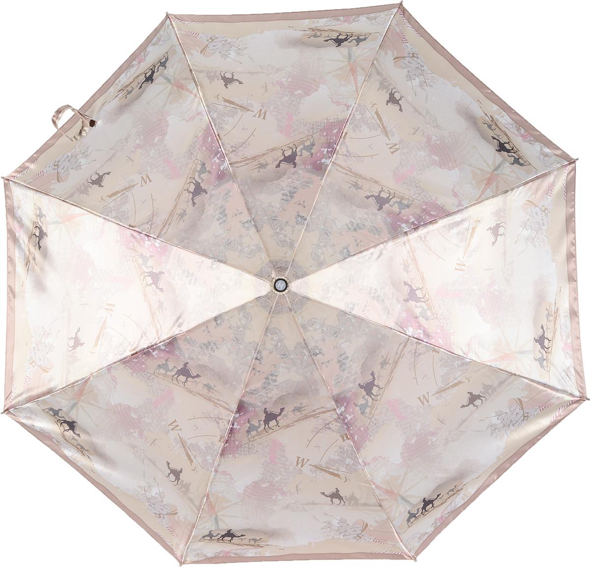 Зонт женский Henry Backer, 3 сложения, цвет: бежевый. U23203 TravellingREM12-CAM-GREENBLACKРомантичный женский зонт «Путешествие» с сатиновым куполом, автомат У зонта комфортная для ладони рукоять из нескользящего материала с насечками под пальцы, чтобы зонт было удобно удерживать при порывах ветра.