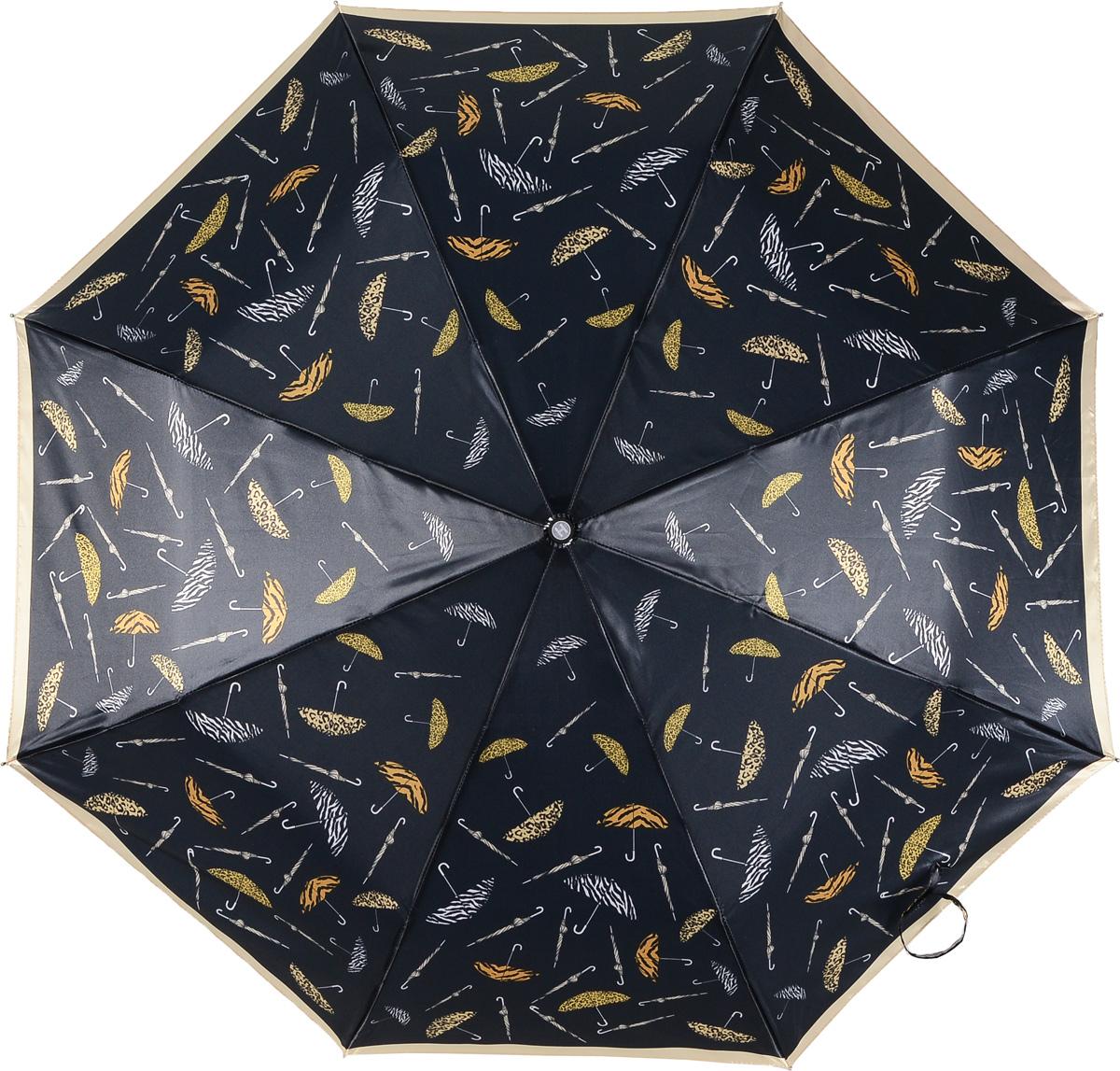 Зонт женский Henry Backer, 3 сложения, цвет: черный. U21203 Animal printREM12-CAM-GREENBLACKЖенский зонт с сатиновым куполом «Животный принт», автомат. У модели удобная, нескользящая в ладони рукоять и ветроустойчивый каркас.