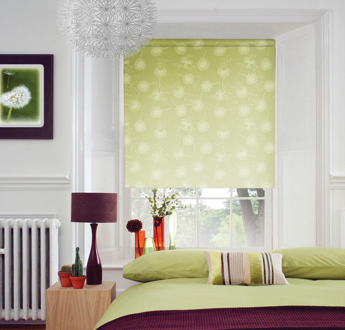 Штора рулонная KauffOrt Миниролло. Одуванчик, цвет: зеленый, ширина 90 см, высота 170 см