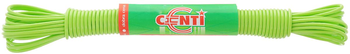 Шнур для белья Centi, цвет: салатовый, 10 мGC204/30Бельевая веревка Centi изготовлена из высококачественного полиэтилена и полипропилена. Веревка очень крепкая и надежная. При натягивании не провисает.Длина веревки: 10 м. Диаметр веревки: 2 мм.