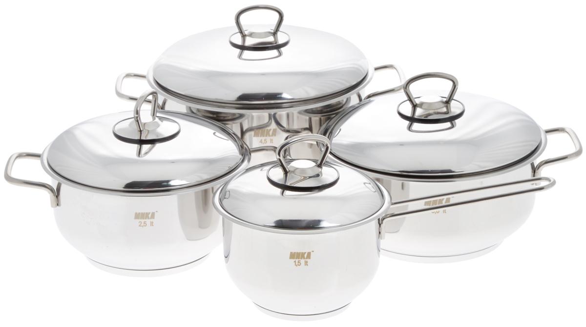 Набор посуды Катюша, 8 предметов25177Набор посуды Катюша состоит из трех кастрюль с крышками и ковша с крышкой. Посуда изготовлена из высококачественной нержавеющей стали, что гарантирует безупречный внешний вид посуды, практичность и долговечность. Трехслойное теплораспределяющее дно позволяет равномерно распределять и значительно дольше сохранять тепло по стенкам и дну посуды, что предотвращает пригорание пищи и обеспечивает более быстрое приготовление блюд. Крышки, выполненные из термостойкого стекла, оснащены ободом из нержавеющей стали и отверстием для выхода пара. Эргономичный дизайн и функциональность набора Катюша позволят вам наслаждаться процессом приготовления любимых блюд. Изделия подходят для использования на всех типах плит, включая индукционные. Можно мыть в посудомоечной машине.Диаметр кастрюль: 18 см; 20 см; 22 см.Высота кастрюль: 10 см; 10 см; 12,5 см.Ширина кастрюль (с учетом ручек): 26 см; 28 см; 30,5 см.Объем кастрюль: 2,5 л; 3 л; 4,5 л.Диаметр ковша: 14 см.Высота ковша: 10 см.Длина ручки ковша: 15 см.Объем ковша: 1,5 л.