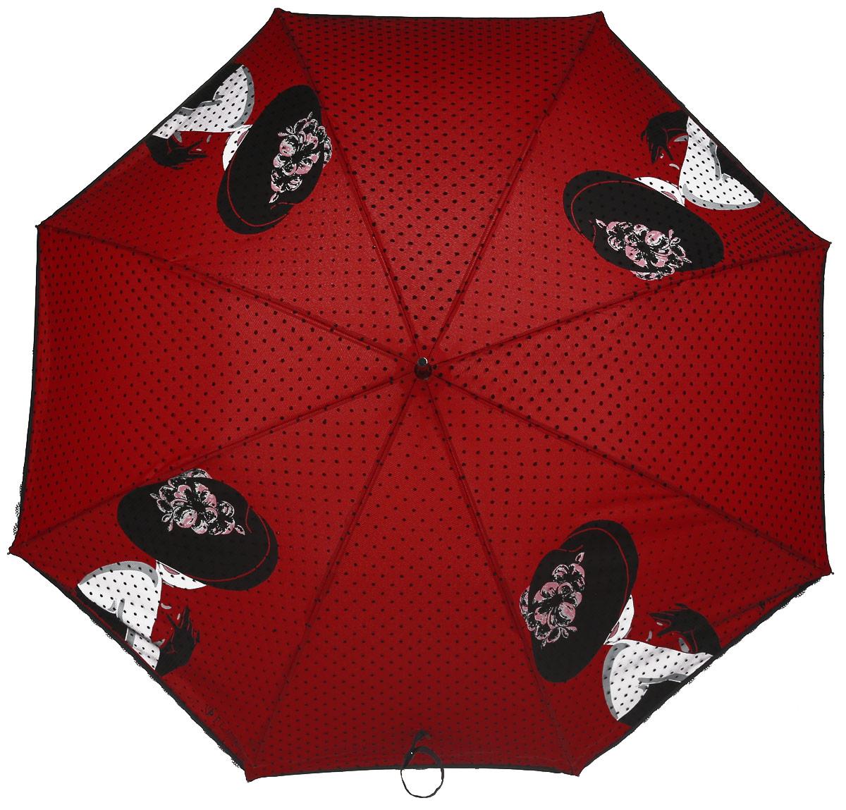 Зонт женский Flioraj, механика, трость, цвет: красный, черный. 121203 FJ45100636-1/18466/6800NЭлегантный зонт Flioraj выполнен из высококачественного полиэстера, не пропускающего воду. Уникальный каркас из анодированной стали, карбоновые спицы помогут выдержать натиск ураганного ветра. Улучшенный механизм зонта, максимально комфортная ручка держателя, увеличенный в длину стержень, тефлоновая пропитка материала купола - совершенство конструкции с изысканностью изделия на фоне конкурентоспособной цены.